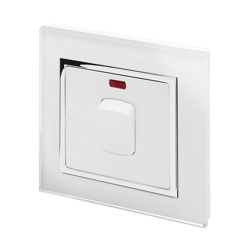 RetroTouch 20 Amp Double Pole Heater Switch White Glass CT 01720